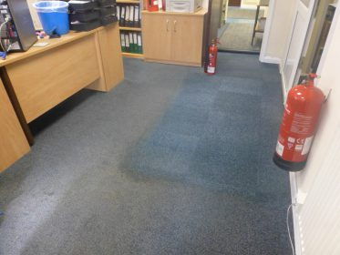 Part Cleaned office carpet
